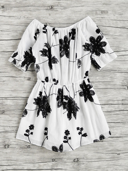 White Flower Embroidered Trumpet Short Sleeve Romper