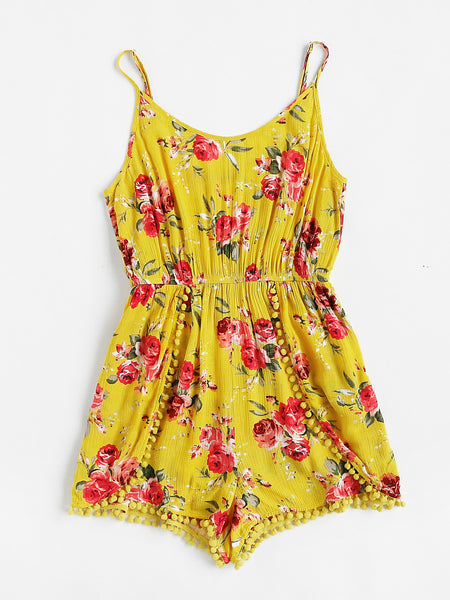 Yellow Flower Print Pom Pom Trim Wrap Cami Playsuit
