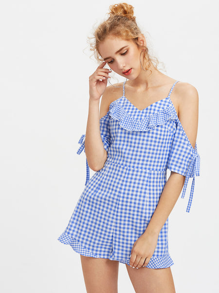 Blue Plaid Short Sleeve Cold Shoulder Riffle Trim Cami Straps V-Neck Playsuit