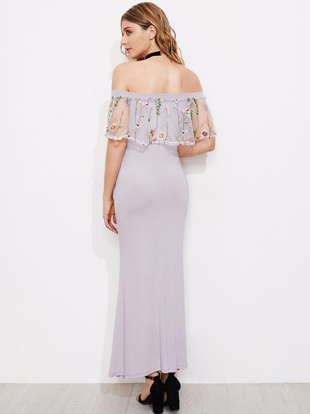 Grey Off Shoulder Layered Embroidered Mesh A Line Long Dress