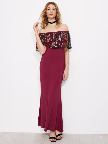 Burgundy Off Shoulder Layered Embroidered Mesh A Line Long Dress