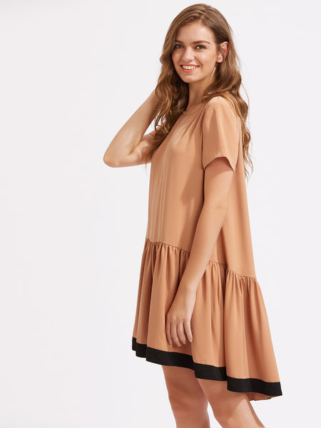 Plain Nude Short Sleeve Round Neck Contrast Panel Keyhole Back Smock Dress