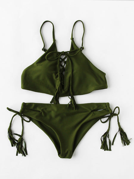 Green Lace Up Front Tassel Tie Bikini Set