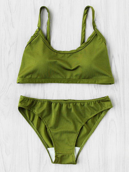 Green Spaghetti Strap Push Up Bikini Set