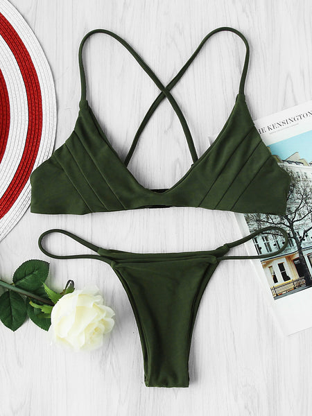 Green Cross Back Triangle Bikini Set