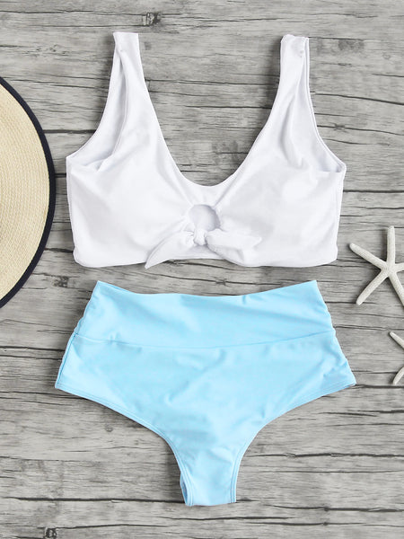 White and Blue Knot Front Tankini Set
