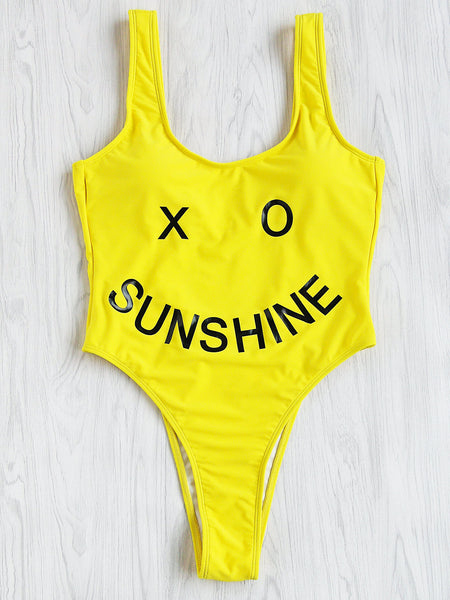 Yellow Smiley Face Print High Leg Swimsuit