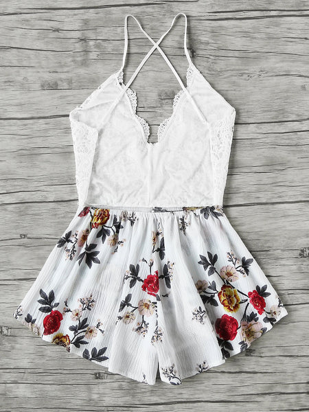 Multicolor Flower Print Lace Panel Sleeveless Criss Cross Backless Playsuit