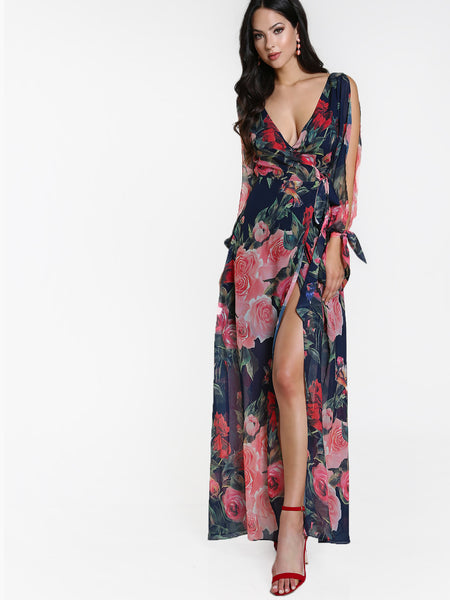 Navy Floral Print Surplice Front Open Back Split Sleeve Maxi Dress
