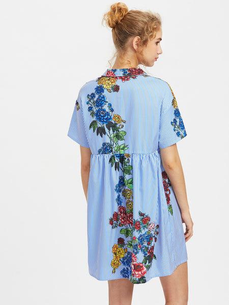 Blue Striped Floral Print Short Sleeve A Line Half Placket Smock Dress