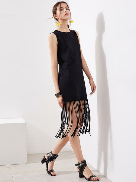 Plain Black Sleeveless Round Neck Fringe Trim Midi Dress