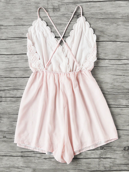 Plain Pink Lace Trim Criss Cross Back V-Neck Romper