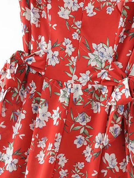 Red Bell Sleeve V-Neck Floral Print Knot Waist Playsuit