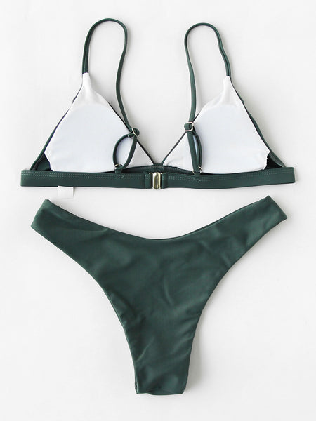 Green Triangle Padded High Leg Swimwear