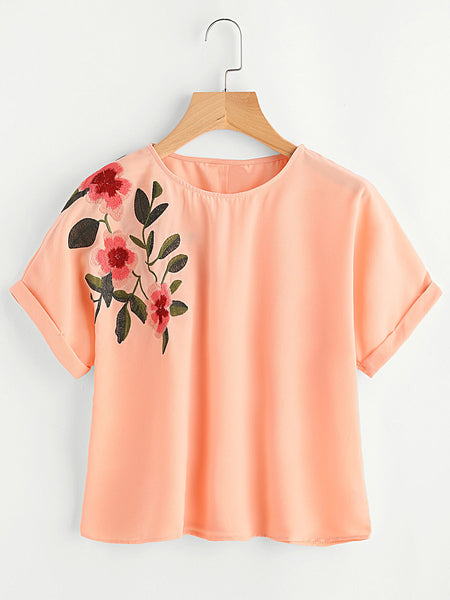 Orange Floral Embroidered Round Neck Cuffed Sleeve Top