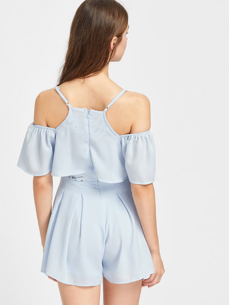 Blue Plain Short Sleeve Cami Straps Cold Shoulder Lace Insert Frill Playsuit