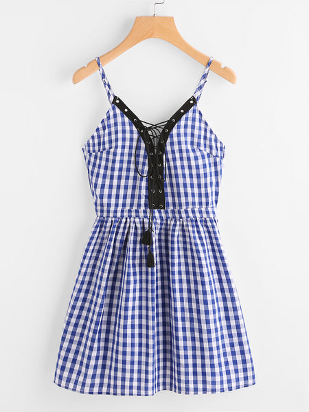 Blue Checkered Spaghetti Strap Eyelet Lace Up A Line Dress