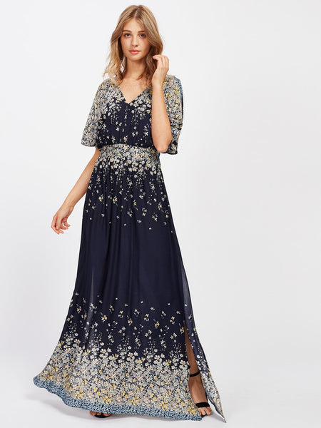 Navy V-Neck Floral Print Split Flare Sleeve Self Tie Maxi Dress