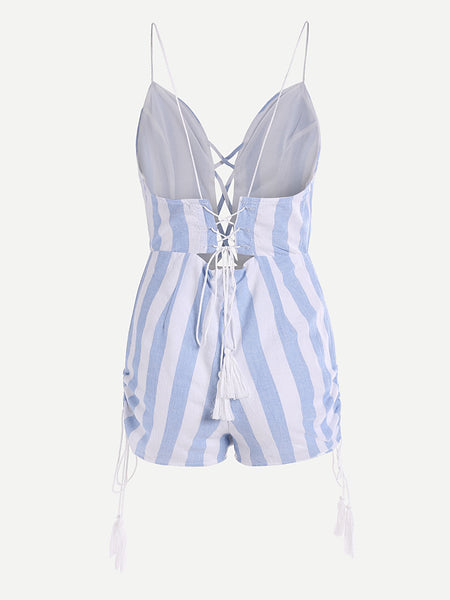 Blue Striped Criss Cross Front And Back Cami Straps V-Neck Sleeeveless Playsuit With Fringe