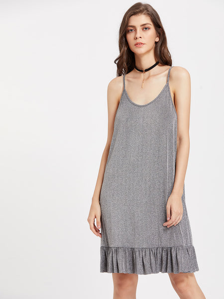 Silver Plain Sleeveless Cami Straps Frill Hem Mini Dress