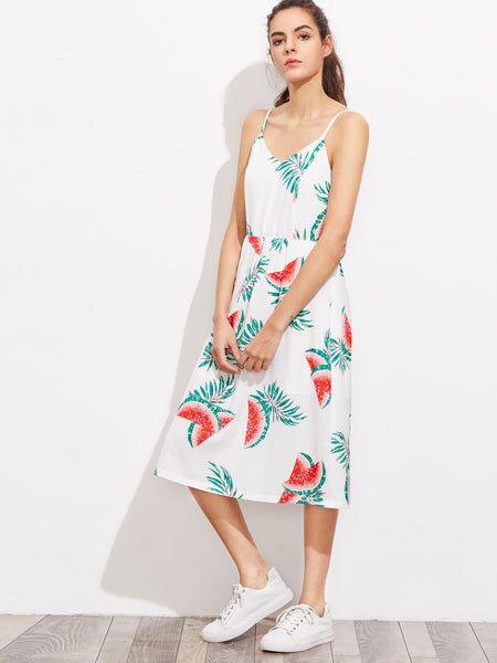 White Watermelon Print Bow Back Cutout Cami Dress