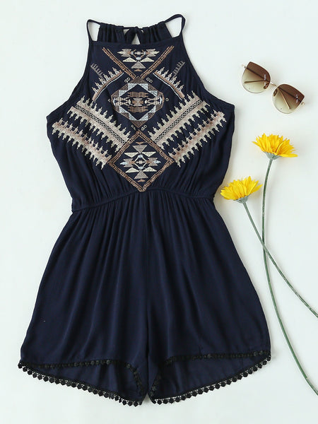 Navy Aztec Embroidered Sleeveless Tie Back Pleated Romper