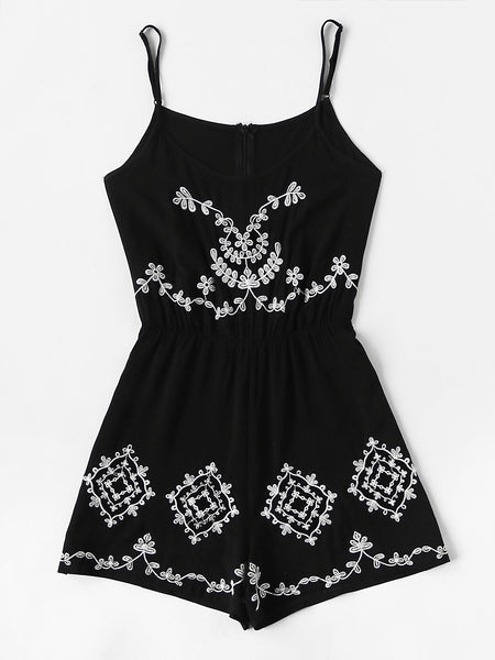Black Flower Embroidered Cami Straps Sleeveless Romper With Zipper Back