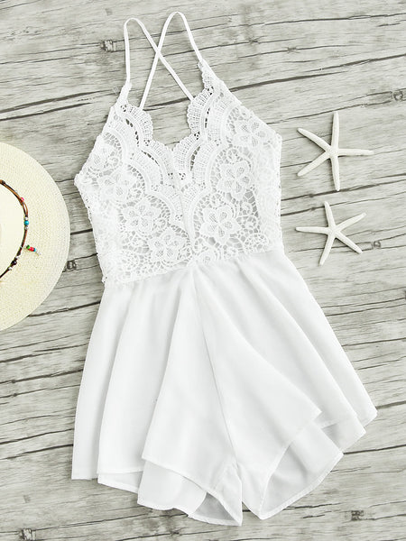 White Lace Panel Sleeveless Criss Cross Backless Playsuit