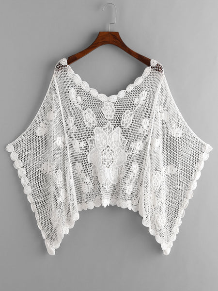 White Crochet Hollow Out Kaftan Cover Up