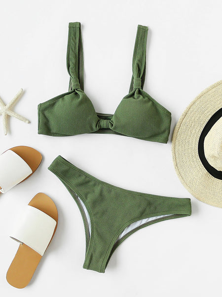 Green Knot Front Ribbed Bikini Set
