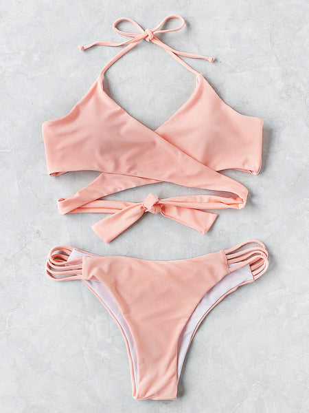 Pink Halter Neck Ladder Cut Out Wrap Bikini Set