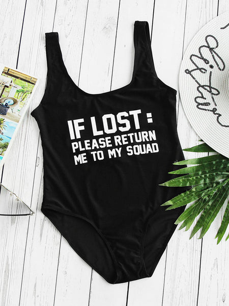 Black Text Print Scoop Neck Monokini