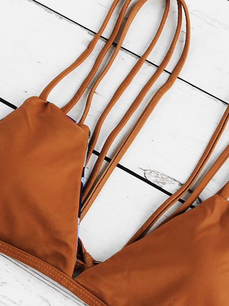 Brown Strappy Ladder Cut Out Reversible Bikini Set