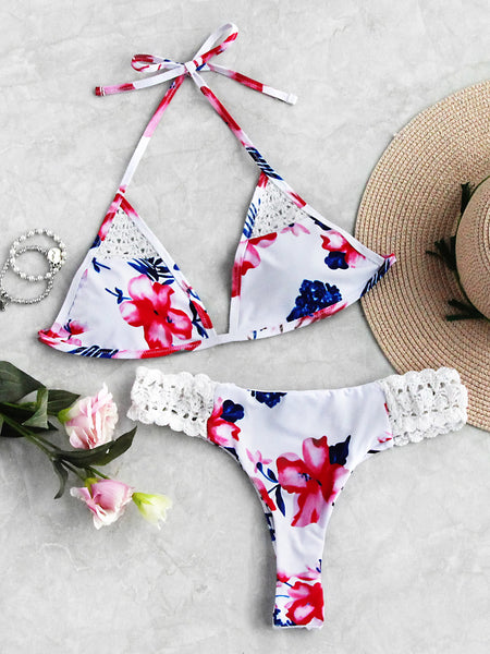 White Halter Triangle No Pad Crochet Insert Bikini Set