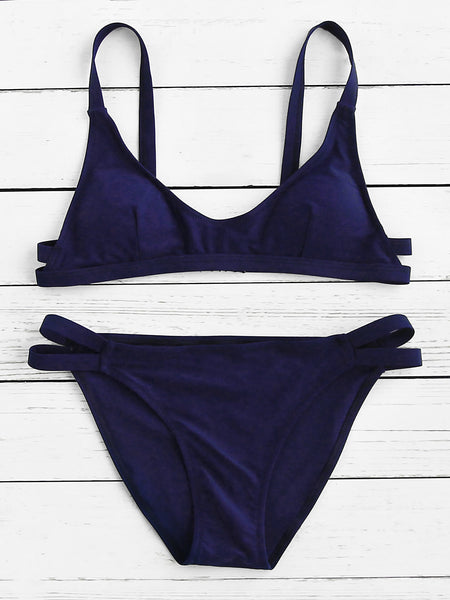 Navy Scoop Neck Padded Ladder Cut Out Bikini Set