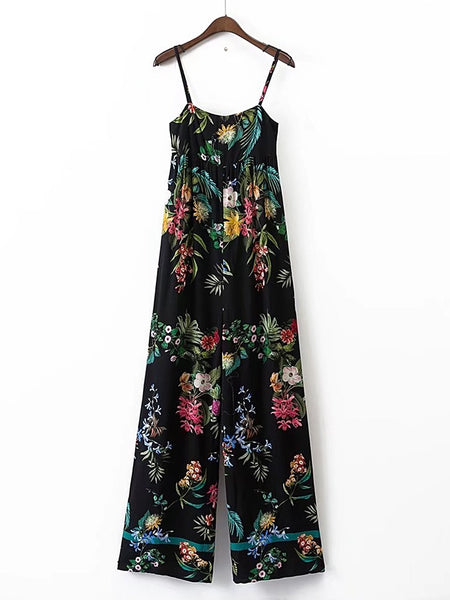 Black Floral Print Sleeveless Cami Straps Jumpsuit
