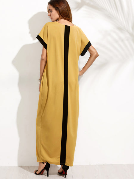 Yellow Short Sleeve Round Neck Contrast Panel Cocoon With Hidden Pocket Maxi Dress
