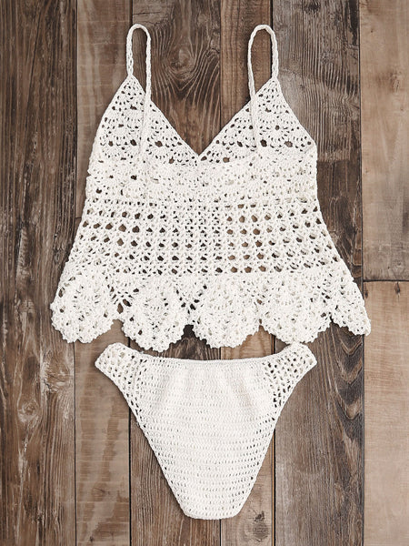 White Hollow Out Scalloped Hem Crochet Bikini Set