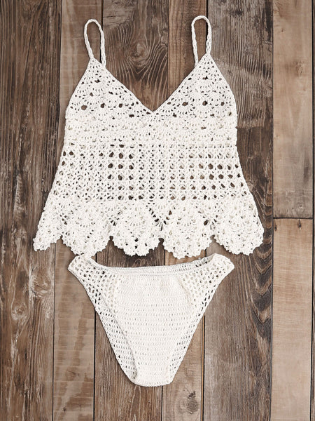 White Hollow Out Scalloped Hem Crochet Tankini Set