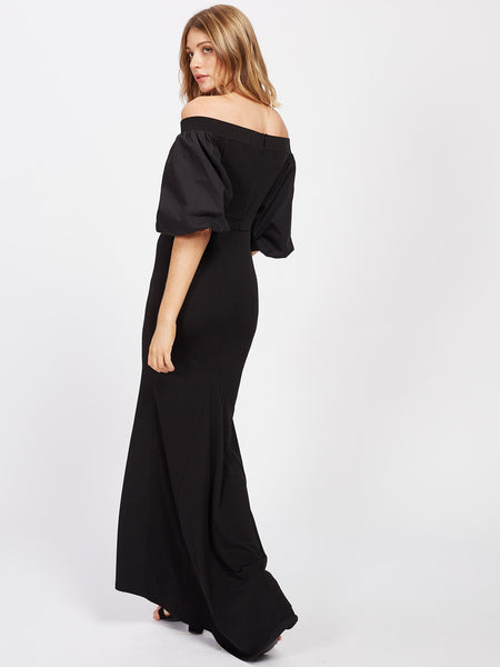 Plain Black Off Shoulder Bell Half Sleeve Dip Hem Fishtail Bardot Maxi Dress
