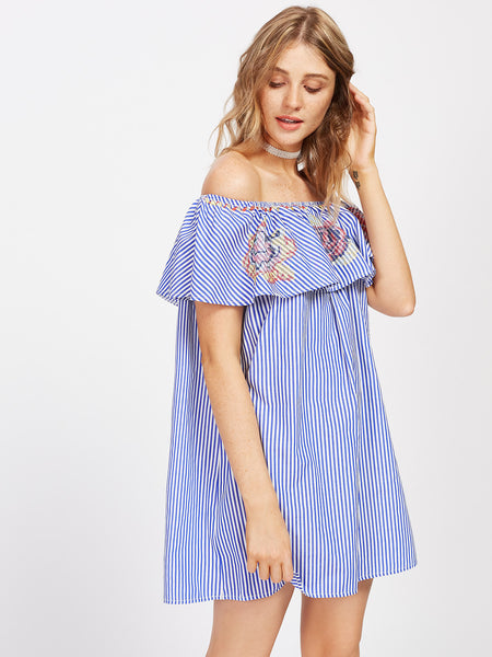Blue Striped Floral Print Layered Short Sleeve Off Shoulder Cross Stitch Embroidery Frill Mini Dress