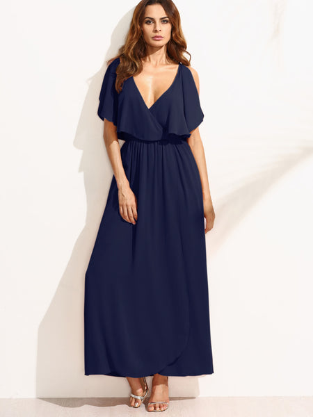Navy Surplice Front Split Sleeveless Deep V-Neck Maxi Dress