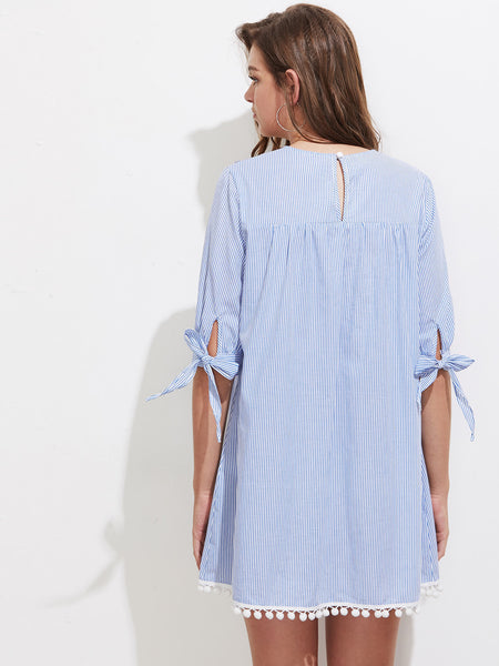Blue Striped Embroidered Yoke Tie Half Sleeve Round Neck Pom Pom Mini Dress