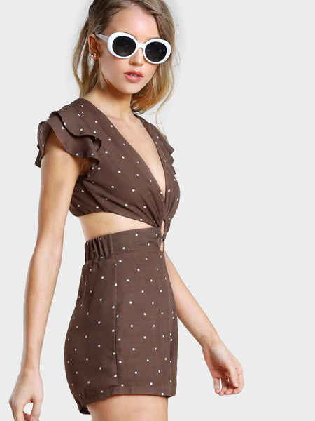 Brown Overall Polka Dot V-Neck Layered Fluttered Cap Sleeve O-Ring Detail Front Open Back Romper