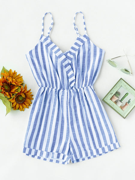 Blue Striped Sleeveless Foldover Knot V Back Romper