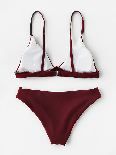 Burgundy Seam Detail Padded Triangle Bikini Set