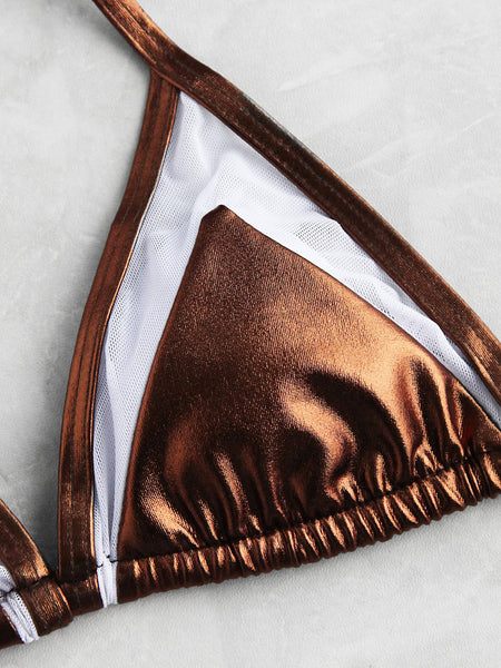 Brown Metallic Mesh Insert Triangle Bikini Set