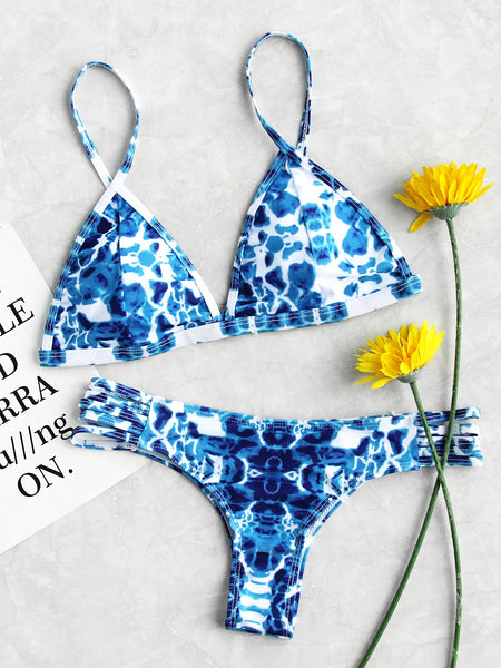 Blue Padded Triangle Water Wave Print Ladder Cut Out Bikini Set