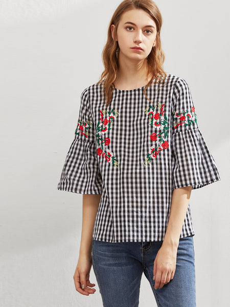 Black and White 3/4 Fluted Sleeve Floral Embroidered Checkered Top