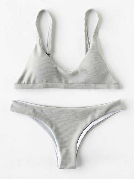 Grey Textured Metal Lock High Leg Bikini Set